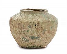 A Green Glazed Pottery Jar LIKELY HAN DYNASTY Height 4 1/2 inches.