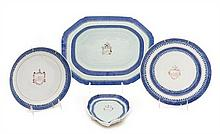 A Group of Four Chinese Export Blue and White Porcelain Articles Width of widest 14 inches.