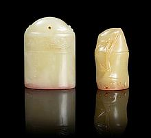 Two Carved Soapstone Seals Height of taller 1 7/8 inches.