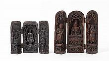 Two Carved Wood Travel Shrines Height of taller 8 3/8 inches.