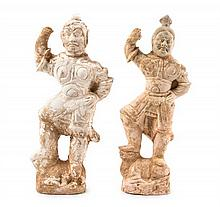 Two Pottery Figures of Standing Warriors Height of taller 16 3/4 inches.