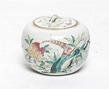 * A Chinese Porcelain Covered Jar. Diameter 4 1/2 inches.