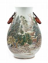 A Famille Rose Porcelain Jar Height 21 inches.