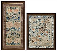 * Two Embroidered Silk Panels Height of taller overall 23 x width 11 1/4 inches.