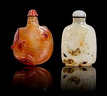 Two Agate Snuff Bottles Height of each 3 inches.