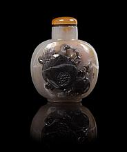 * A Carved Agate Snuff Bottle SUZHOU SCHOOL Height 2 1/4 inches.