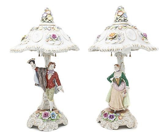* A Pair of Porcelain Figural Lamps, Height of each 22 inches.
