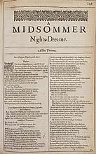 SHAKESPEARE, WILLIAM. Nine leaves from A Midsommer Nights Dreame, from the Second Folio, (1632). Bound in modern boards.