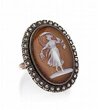 A Yellow Gold, Silver, Agate Cameo and Diamond Ring, 5.10 dwts.