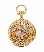 A Tricolor 18 Karat Gold and Seed Pearl Pendant Watch, C. Perrier, Circa 1891, 11.10 dwts.