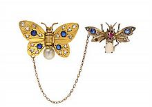 * A Collection of Butterfly Scarf Pins, 8.35 dwts.