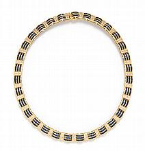 An 18 Karat Yellow Gold, Sapphire and Diamond Collar Necklace, 51.20 dwts.