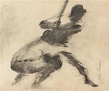 LeRoy Neiman, (American, 1921-2012), Untitled (At Bat)