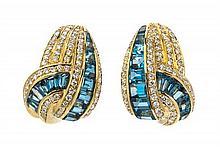 A Pair of 18 Karat Yellow Gold, Aquamarine and Diamond Earclips, Italian, 12.00 dwts.