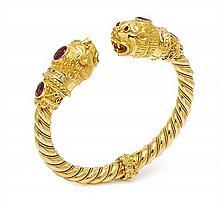 An 18 Karat Yellow Gold, Sapphire and Diamond Bracelet, 46.50 dwts.