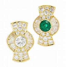 A Pair of 18 Karat Yellow Gold, Emerald and Diamond Earclips, Kurt Wayne, 7.20 dwts.