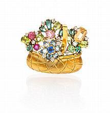 An 18 Karat Yellow Gold, Diamond and Multi Gem Flower Basket Brooch, Potter Mellen, 6.60 dwts.