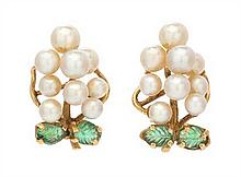 A Pair of 14 Karat Yellow Gold, Cultured Pearl and Emerald Earclips, 8.70 dwts.
