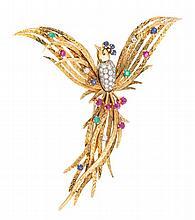 An 18 Karat Yellow Gold, Ruby, Emerald, Sapphire and Diamond Bird Brooch, Austrian, 14.12 dwts.