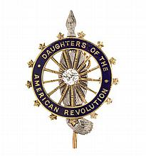 A 14 Karat Gold, Diamond and Enamel Daughters of the American Revolution Pendant/Brooch, J.E. Caldwell & Co., 3.80 dwts.