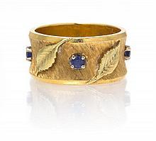 An 18 Karat Yellow Gold and Sapphire Leaf Motif Ring, 6.80 dwts.