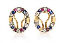 A Pair of 18 Karat Yellow Gold, Diamond, Sapphire and Ruby Earclips, 4.50 dwts.