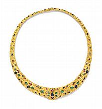 An 18 Karat Yellow Gold, Diamond and Multi Gem Demi Parure, 76.40 dwts.
