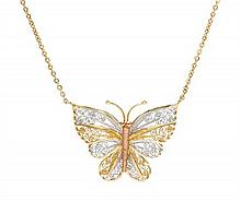 A 14 Karat Tri-Color Gold Butterfly Necklace, Turkish, 3.8 dwts.