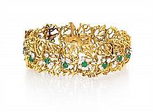 An 18 Karat Yellow Gold, Diamond and Emerald Bracelet, 31.70 dwts.