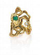 A Yellow Gold, Emerald and Diamond Ring, 10.10 dwts.