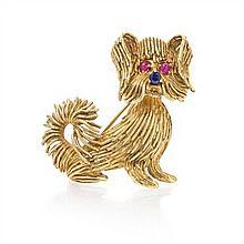 An 18 Karat Yellow Gold and Sapphire Dog Brooch, 15.00 dwts.