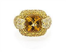 An 18 Karat Yellow Gold, Citrine, Yellow Sapphire and Diamond Ring, Sonia B., 7.80 dwts.