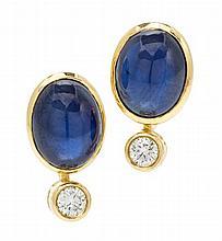 A Pair of 18 Karat Yellow Gold, Sapphire and Diamond Earclips, Kurt Wayne, 5.10 dwts.