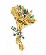 An 18 Karat Gold, Emerald and Diamond Brooch, 12.60 dwts.