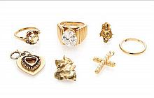 A Collection of Yellow Gold and Multi Gem Jewelry, 23.00 dwts.