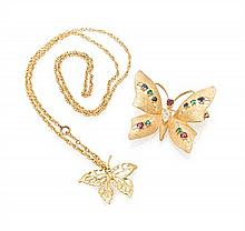 A Collection of 14 Karat Yellow Gold and Multi Gem Butterfly Motif Jewelry, 11.40 dwts.