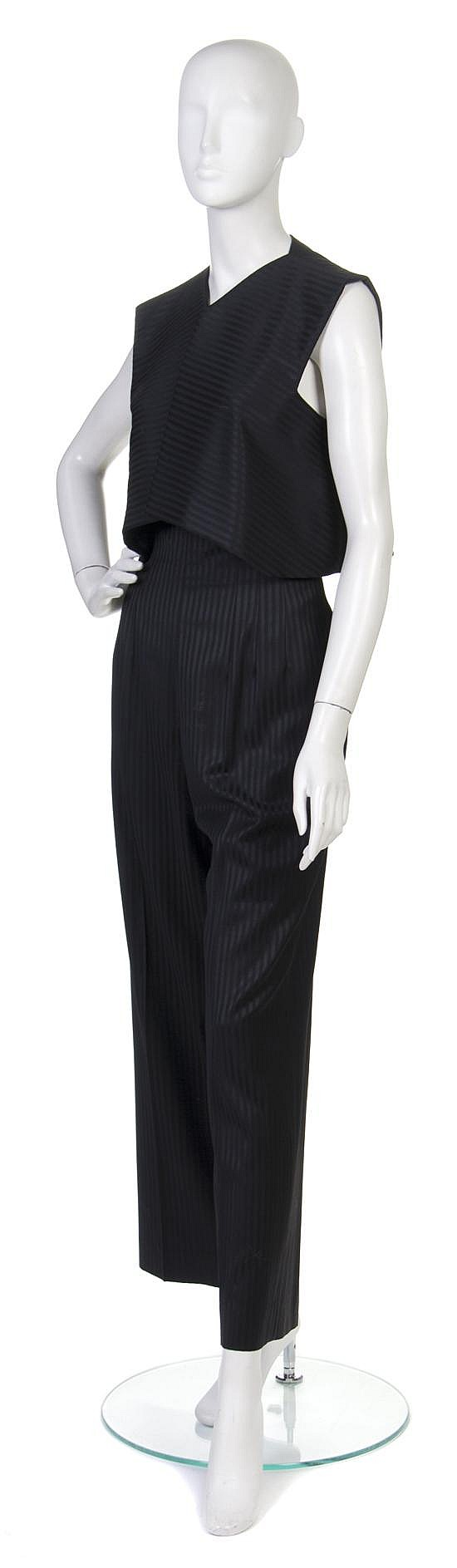 * A Pauline Trigere Black Striped Pant Ensemble,