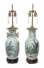 * A Pair of Famille Rose Porcelain Vases Height of porcelain 17 inches.
