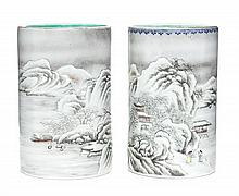 A Pair of Grisaille Enamel Porcelain Brushpots Height 5 1/2 inches.