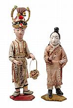 A Pair of Japanese Dolls Height of vitrine 25 3/8 inches.