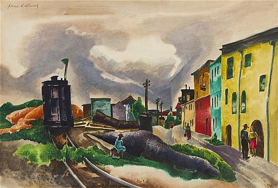 William Samuel Schwartz, (American, 1896-1977), Train through Town