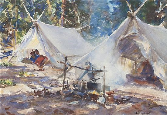 John Whorf, (American, 1903-1959), A Campsite