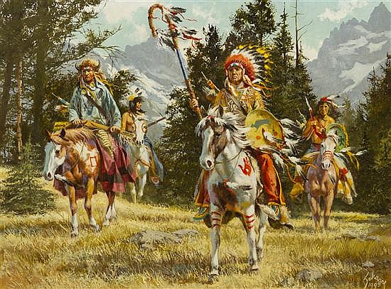 Harry Schaare, (American, 1922-2008), Teton Sioux Raiders, 1993