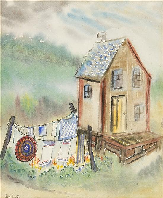 Karl Knaths, (American, 1891-1971), Shack with Clothes Line