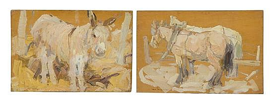 * Leon Schulman Gaspard, (American/Russian, 1882-1964), Harnessed Horses and Mule (a pair of works)