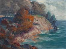 Leon Lundmark, (American, 1875-1942), Red Rocks from Presque Isle