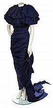 * An Emanuel Ungaro Couture Blue Pleated Silk Gown, An Emanuel Ungaro Couture Blue Pleated Silk Gown, No size.