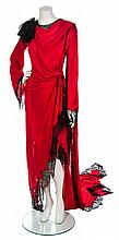 * An Emanuel Ungaro Sheer Red and Black Lace Dress, Size 40.