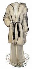 * An Emanuel Ungaro White Gown and Fur Ensemble, No size.