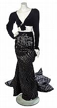 * An Emanuel Ungaro Black and Grey Evening Ensemble, No size.